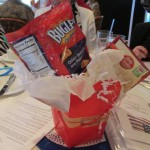Chapter meeting table decorations remind members to contribute Box Tops for Education from household products to be used to support DAR schools.